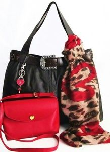 Brown Tote Travel Bag Set Red Heart Accessory XXL
